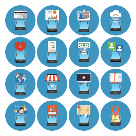 mobile banking: Circle Colorful Smartphone Concept Icons. Isometric style. Business, Finance, Education, Technology, Travel, Health, Security Metaphors.