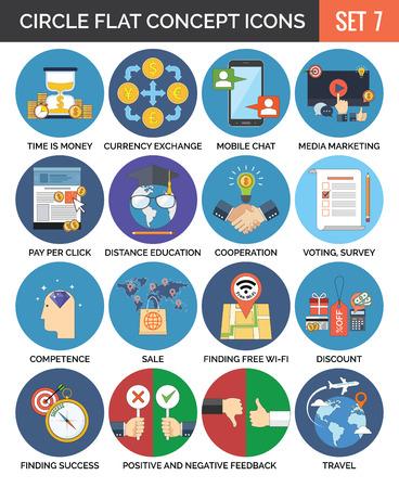 サークル カラフルなコンセプトのアイコン。フラットなデザイン。7 を設定します。ビジネス、金融、教育、技術、フィードバック、旅行シンボル