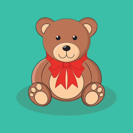teddy bear: Cute brown teddy bear toy with red bow. Vector illustration
