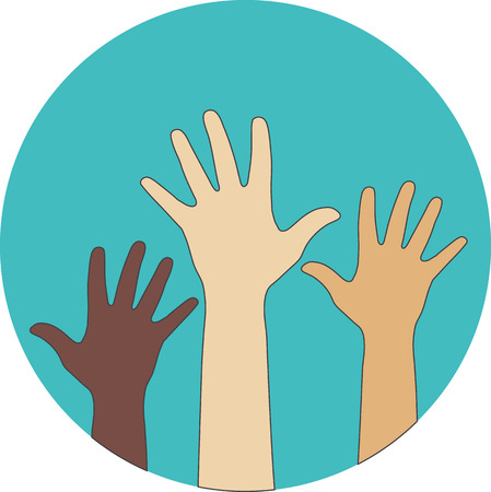 Circle flat icon. Hands raised up. Concept of volunteerism, multi-ethnicity, equality, racial and social issues. Ilustração