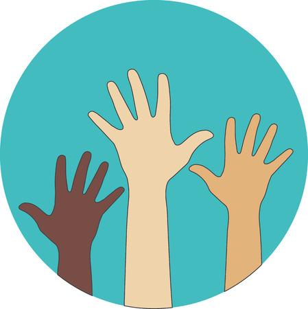 social issues: Icona piatta Circle. Mani sollevate. Concetto di volontariato, multietnicit�, l'uguaglianza, la razza e le questioni sociali. Vettoriali