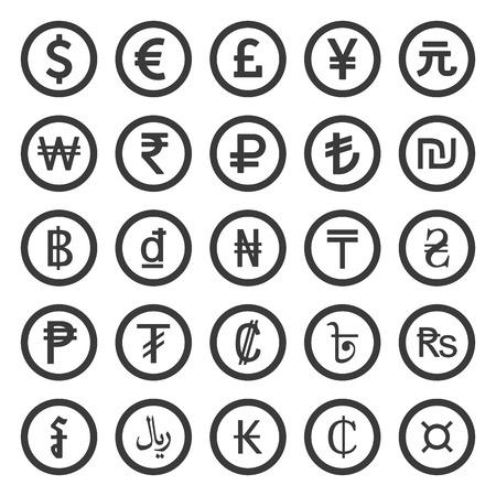 Monnaie Icons Set. Noir sur fond blanc Banque d'images - 41961219