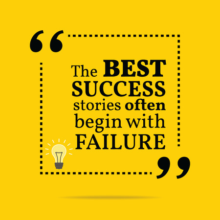 Citation de motivation inspirée. Les meilleures histoires de réussite commencent souvent par un échec. Design branché simple. Banque d'images - 42122517