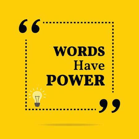 Inspirational motivatie citaat. Woorden hebben macht. Eenvoudige trendy design. Stock Illustratie