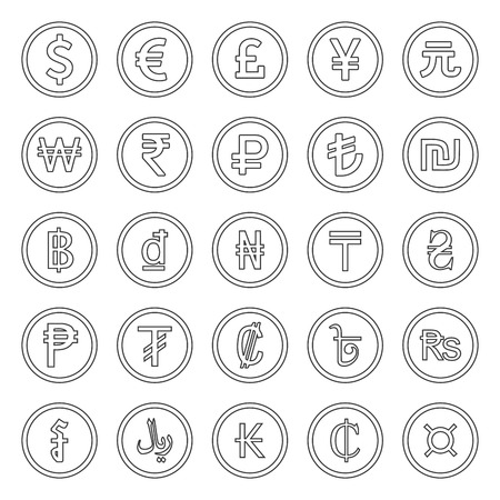 Currency Icons Set. Outlined black over white background