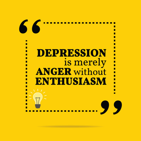 motivation icon: Inspirational motivational quote. Depression is merely anger without enthusiasm. Simple trendy design. Illustration