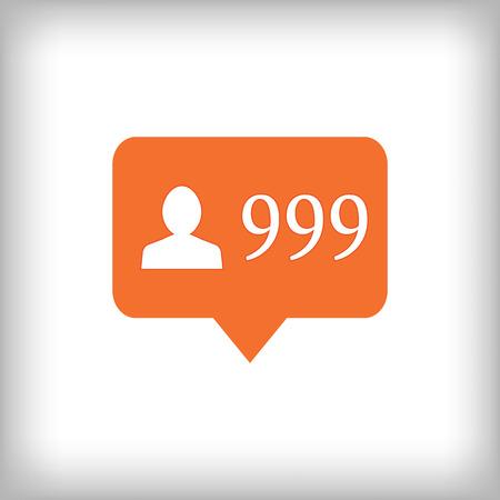 followers: Followers orange icon. 999 followers . Vector illustration