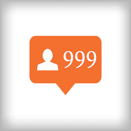 Followers orange icon. 999 followers . Vector illustration