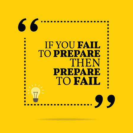 Inspirational motivational quote. If you fail to prepare then prepare to fail. Simple trendy design.