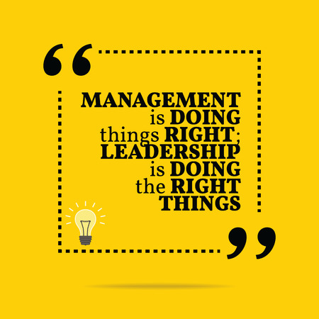 Inspirational motivational quote. Management is doing things right; leadership is doing the right things. Simple trendy design.