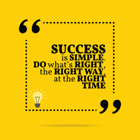 time: Inspirational motivational quote. Success is simple. Do whats right, the right way, at the right time. Simple trendy design.