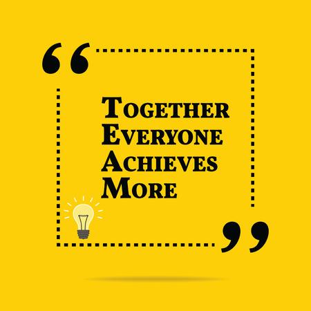 Cita de motivación inspirada. Juntos conseguiremos mas. Diseño de moda simple. Ilustración de vector
