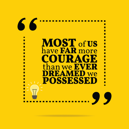possessed: Inspirational motivational quote. Most of us have far more courage than we ever dreamed we possessed. Simple trendy design.