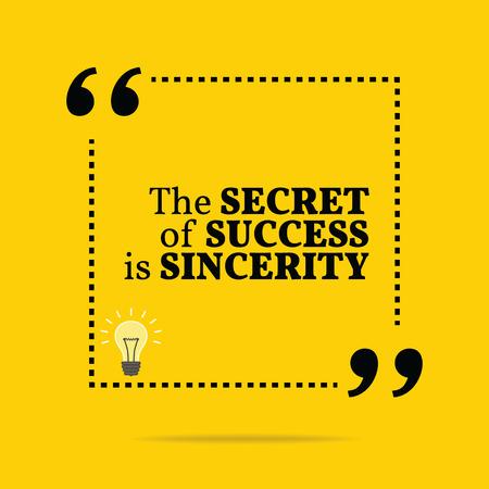 Inspirerend motieven citaat. Het geheim van het succes is oprechtheid. Eenvoudig trendy design.