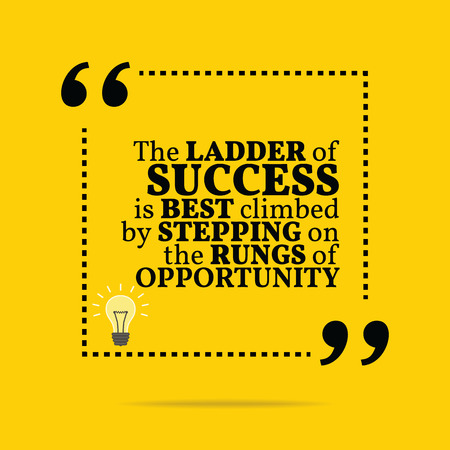 motivation icon: Inspirational motivational quote. The ladder of success is best climbed by stepping on the rungs of opportunity. Simple trendy design.
