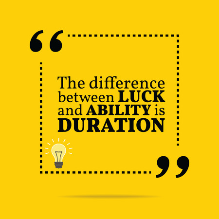 duration: Inspirational motivational quote. The difference between luck and ability is duration. Simple trendy design.