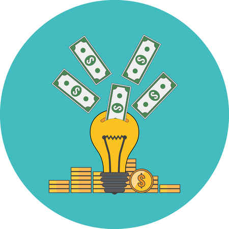 Investing into idea, crowdfunding concept. Flat design. Icon in turquoise circle on white background