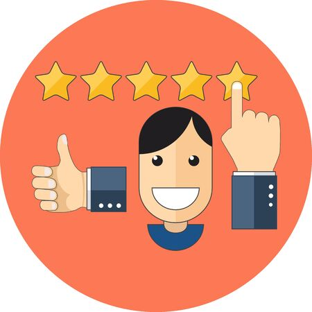 satisfied: Satisfied customers concept. Flat design. Icon in orange circle on white background