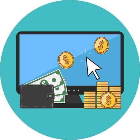 money online: Making money online concept. Flat design. Icon in turquoise circle on white background