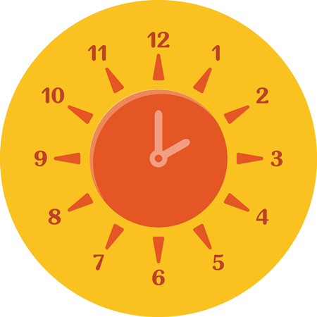 summertime: Summer time concept. Combined clock and sun. Flat design. Icon in orange circle on white background Illustration