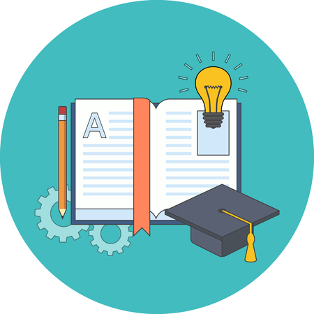 Education, learning, studying concept. Flat design. Icon in turquoise circle on white background