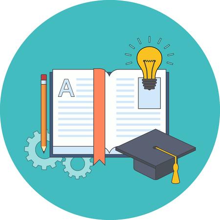 Onderwijs, leren, studeren concept. Plat ontwerp. Pictogram in turquoise cirkel op een witte achtergrond