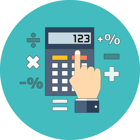 Accountant: Calculation, mathematics, accountant concept. Flat design. Icon in turquoise circle on white background