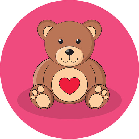 cartoon present: Cute brown teddy bear with red heart. Flat design. Icon in pink circle on white background