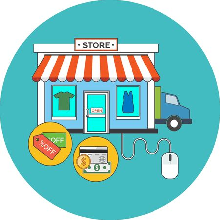 web store: Web store, Online shop concept. Flat design. Icon in turquoise circle on white background Vettoriali