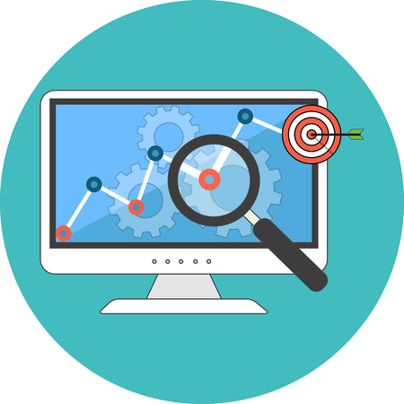 SEO concept. Flat design. Icon in turquoise circle on white background
