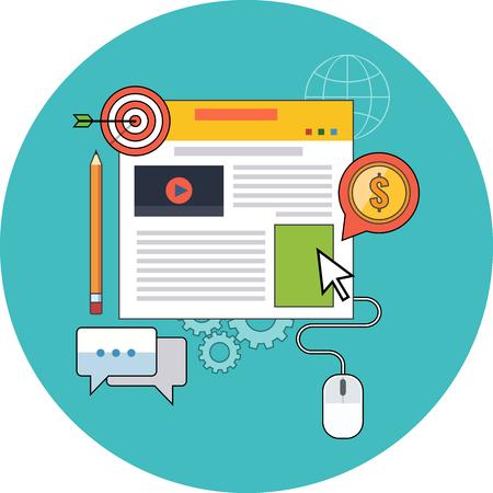 Gestione Blog, concetto di blogging. Design piatto. Icona in cerchio turchese su sfondo bianco