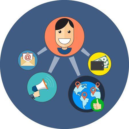 マーケティングの概念を紹介します。フラットなデザイン。白の背景に青の円のアイコン