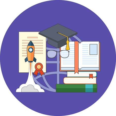 potential: Potential of education concept. Flat design. Icon in purple circle on white background