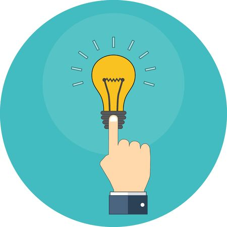 know how: Hand touching light bulb. Know how concept. Flat design. Icon in turquoise circle on white background Illustration