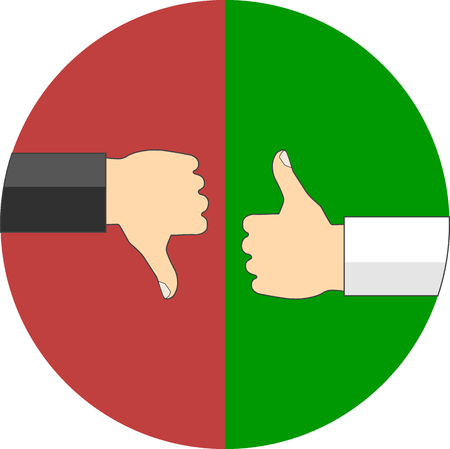 negative: Positive and negative feedback concept. Flat design. Icon in circle on white background
