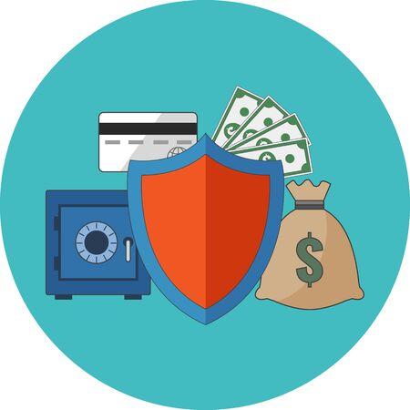 banco dinero: Concepto de seguridad financiera. Dise�o plano. Icono en el c�rculo de color turquesa en el fondo blanco Vectores