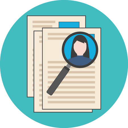 analyzing: Searching professional staff, analyzing resume, recruitment concept. Flat design. Icon in turquoise circle on white background