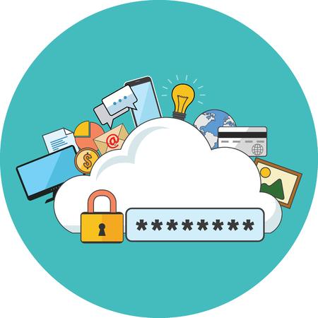 se�ales de seguridad: concepto de seguridad de Internet. Dise�o plano. Icono en el c�rculo de color turquesa en el fondo blanco Vectores