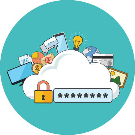 internet icons: Internet security concept. Flat design. Icon in turquoise circle on white background