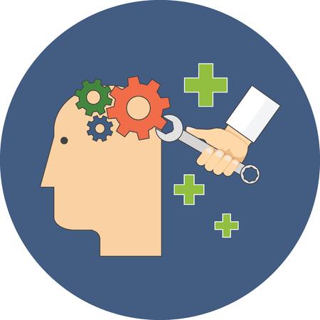 Psychologie, psychotherapie, geestelijke gezondheidszorg concept. Plat ontwerp. Icoon in blauwe cirkel op een witte achtergrond