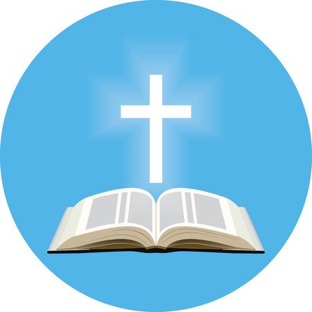 Bijbel en lichtend kruis concept. Icoon in blauwe cirkel op een witte achtergrond Stockfoto - 45524325