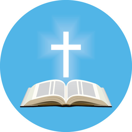 Bible and shining cross concept. Icon in blue circle on white background Illustration