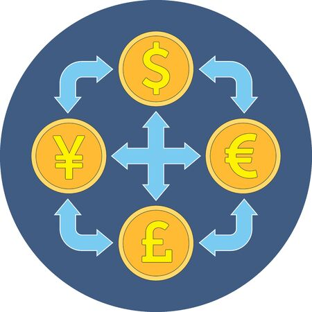 converter: Currency exchange concept. Flat design. Icon in blue circle on white background