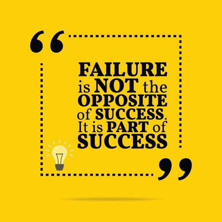 Inspirational motivierend Zitat. Das Scheitern ist nicht das Gegenteil von dem Erfolg. Es ist Teil des Erfolgs. Einfach trendiges Design.