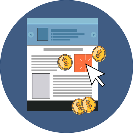 per: Pay Per Click concept. Flat design. Icon in blue circle on white background Illustration