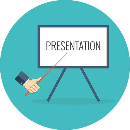 training: Presentation, training, seminar concept. Flat design. Icon in turquoise circle on white background Illustration