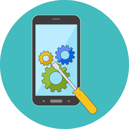 services: Smartphone repair concept. Flat design. Icon in turquoise circle on white background