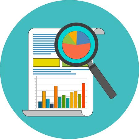 Data-analyse concept. Plat ontwerp. Pictogram in turquoise cirkel op een witte achtergrond Stockfoto - 46071757