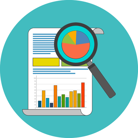 Data analysis concept. Flat design. Icon in turquoise circle on white background