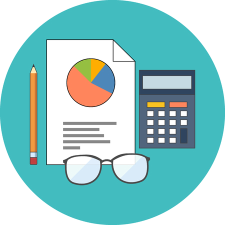 ESTADISTICAS: Concepto de estadísticas. Diseño plano. Icono en el círculo de color turquesa en el fondo blanco